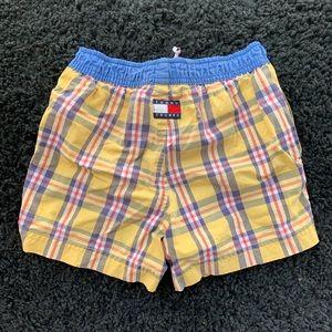 Tommy Hilfiger Yellow Plaid Swim Trunks Shorts